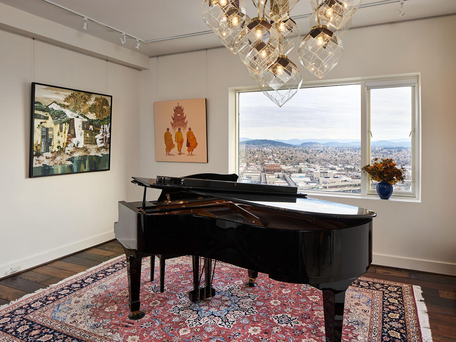 Piano room, view of Mount Hood